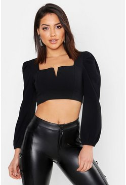 Womens Black Crepe Plunge Front Crop Top