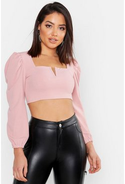 Womens Blush Crepe Plunge Front Crop Top