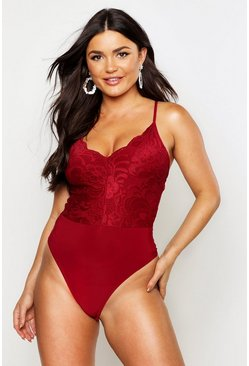 Womens Berry Lace Plunge Front Bodysuit