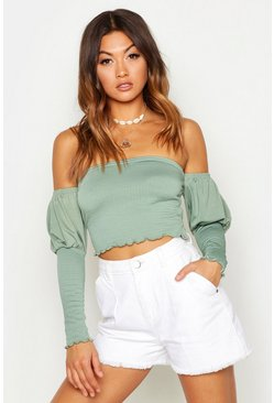 Womens Khaki Off The Shoulder Shirred Top