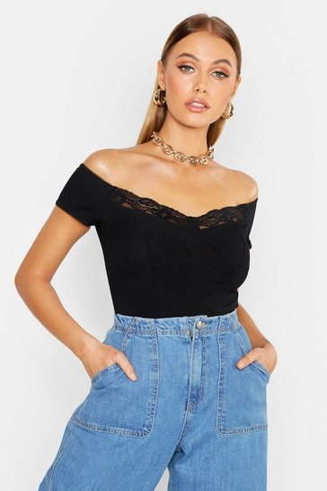 Womens Ribbed Lace Trim Off The Shoulder Crop Top
