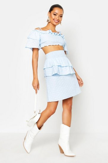 Womens Cornflower blue Ruffle Broderie Mini Skirt