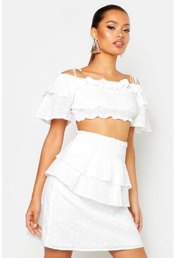 Dam White Ruffle Broderie Mini Skirt