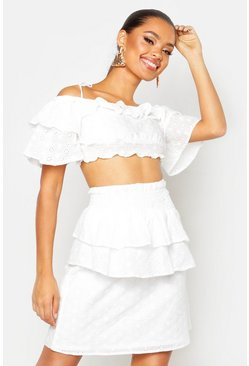 Womens White Ruffle Sleeve Tie Strap Broderie Top