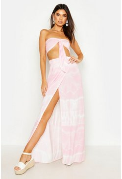 Womens Pink Tie Dye Tie Front Bandeau & Maxi Skirt Co-Ord