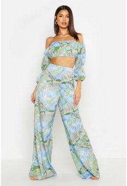 Pantalon coupe large imprimé tropical, Bleu, Femme