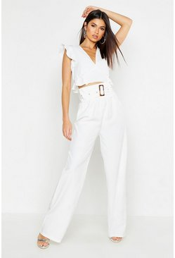 Womens Ivory Frill Detail Woven Top & Belted Wide Leg Trouser Co-Ord