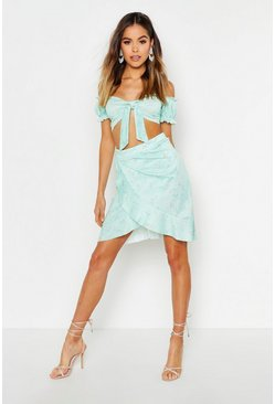 Womens Mint Floral Tie Front Ruffle Sleeve Top & Wrap Skirt Co-Ord