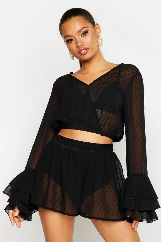 Womens Black Dobby Mesh Flare Sleeve Wrap Top & Short Co-Ord