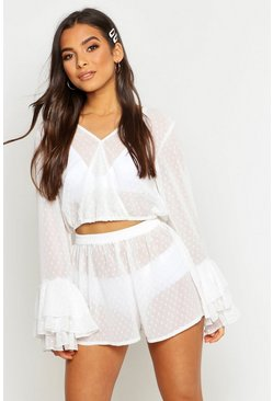 Womens White Dobby Mesh Flare Sleeve Wrap Top & Short Co-Ord