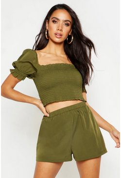 Womens Olive Shirred Top & Flippy Short Co-Ord