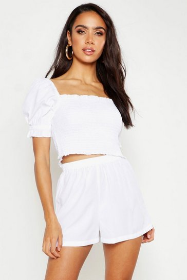 Womens White Shirred Top & Flippy Short Co-Ord
