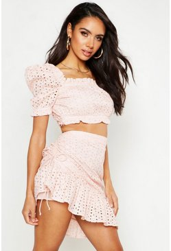 Womens Blush Broderie Volume Sleeve Bandeau & Mini Skirt Co-Ord