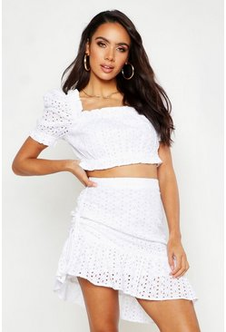 Womens Ivory Broderie Volume Sleeve Bandeau & Mini Skirt Co-Ord