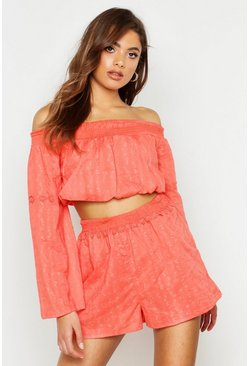 Womens Coral Cotton Floral Trim Shirred Bardot & Short Co-Ord