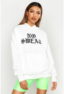 Womens White Slogan Hooded Oversized Sweat