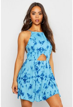 Womens Blue Tie Dye Cut Out Dress