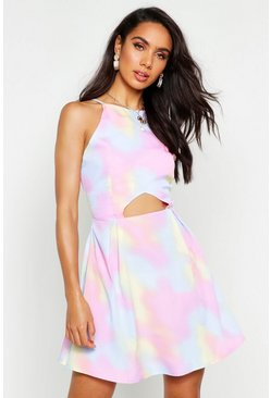 Womens Pink Tie Dye Cut Out Dress