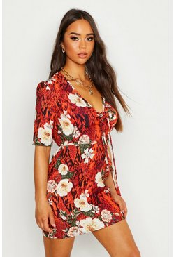Dam Black Woven Floral Tie Shift Dress