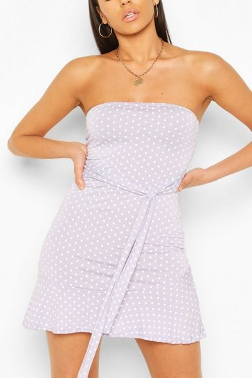 Lilac Spot Bandeau Frill Mini Dress
