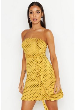 Mustard Spot Bandeau Frill Mini Dress