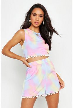 Womens Pink Tie Dye Pom Pom Crop & Short Co-Ord