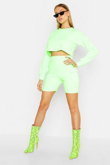 Womens Neon-green Long Sleeve Crop & Pocket Short Co-Ord