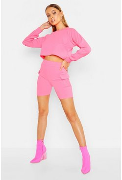 Womens Neon-pink Long Sleeve Crop & Pocket Short Co-Ord