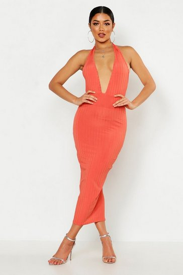 Womens Coral Ribbed Halterneck Plunge Midaxi Dress