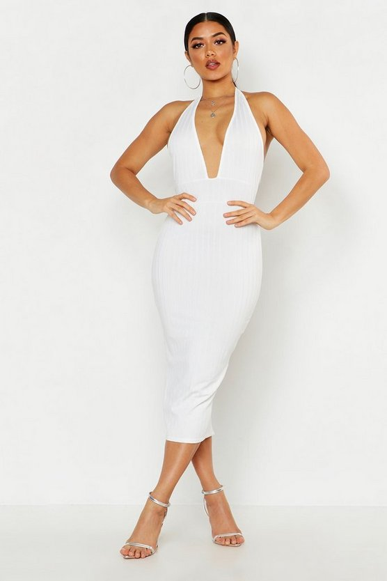 Womens White Ribbed Halterneck Plunge Midaxi Dress
