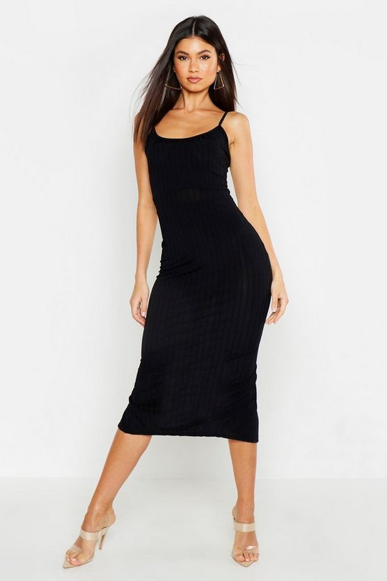 Womens Black Ribbed Strappy Midaxi Dress