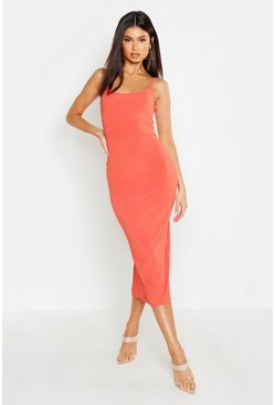 Womens Coral Ribbed Strappy Midaxi Dress