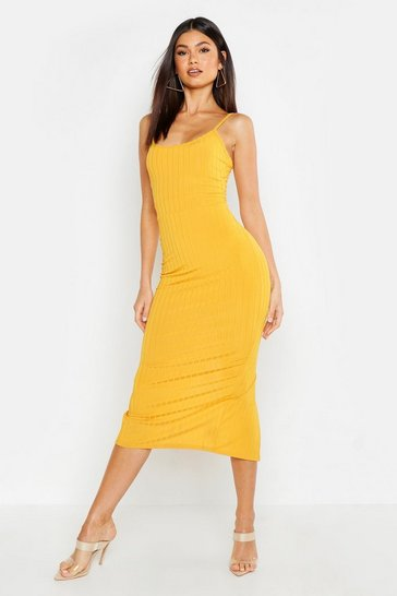 Womens Mustard Ribbed Strappy Midaxi Dress