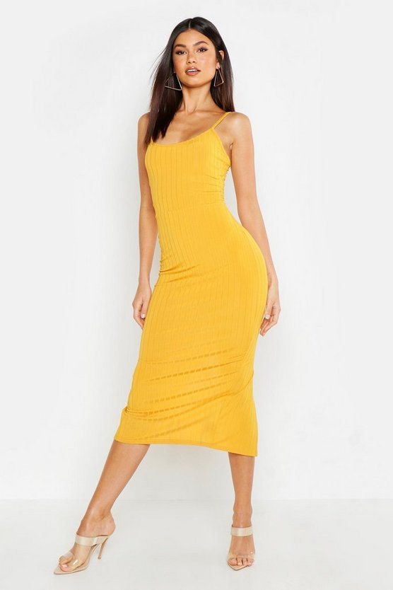 Ribbed Strappy Midaxi Dress by Boohoo