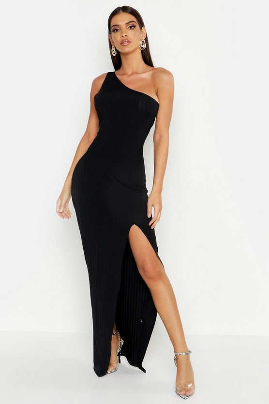 Womens Black Ribbed One Shoulder Maxi Dress