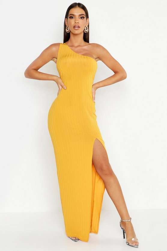 Womens Mustard Ribbed One Shoulder Maxi Dress