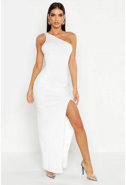 Womens White Ribbed One Shoulder Maxi Dress
