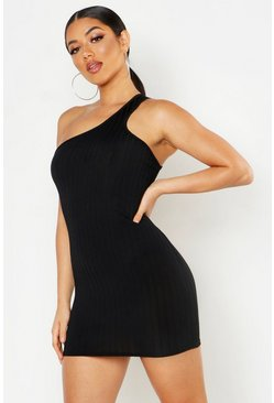 Womens Black Ribbed One Shoulder Strap Bodycon Mini Dress