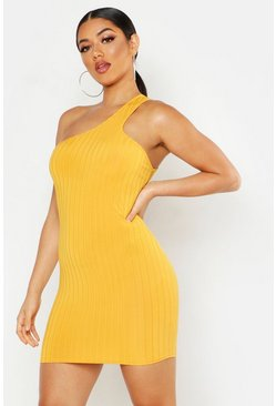 Mustard Ribbed One Shoulder Strap Bodycon Mini Dress
