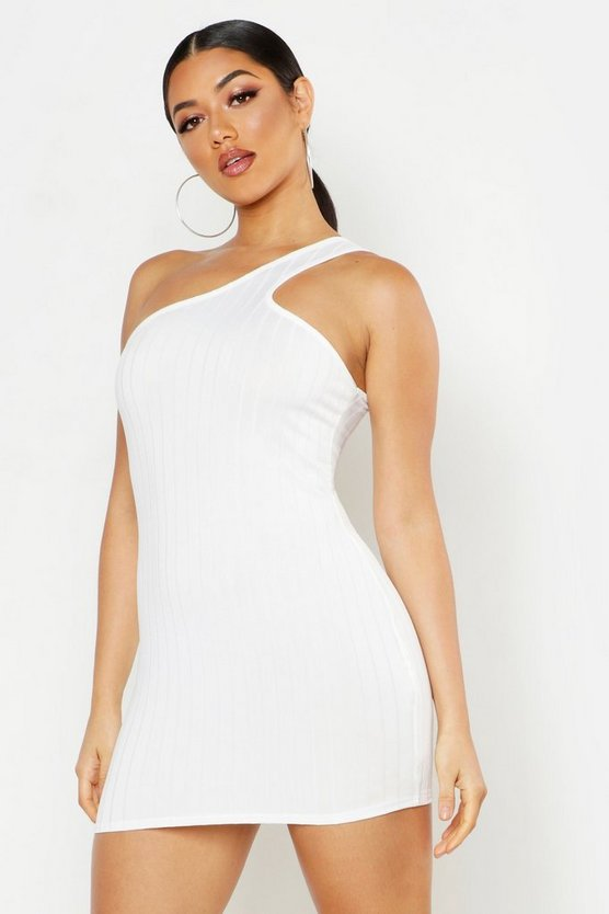Womens White Ribbed One Shoulder Strap Bodycon Mini Dress