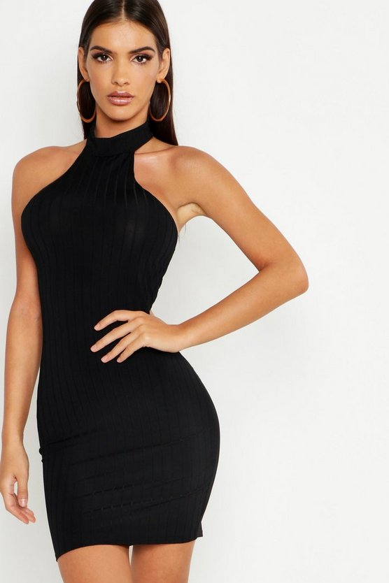 Womens Black Ribbed Racer Neck Bodycon Mini Dress