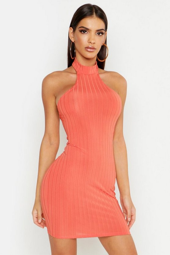 Womens Coral Ribbed Racer Neck Bodycon Mini Dress