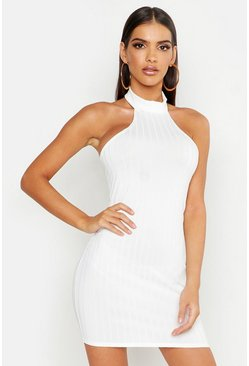 Womens White Ribbed Racer Neck Bodycon Mini Dress