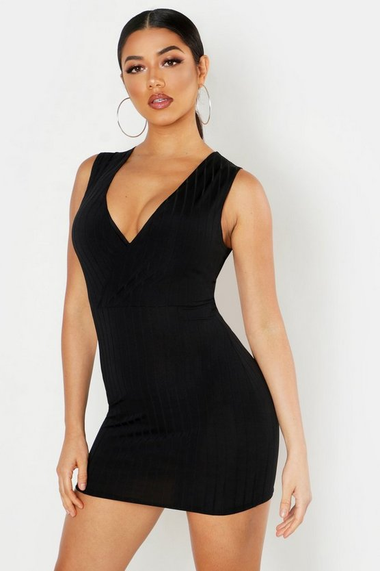 Womens Black Ribbed Plunge Bodycon Mini Dress