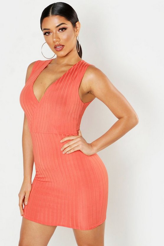 Womens Coral Ribbed Plunge Bodycon Mini Dress