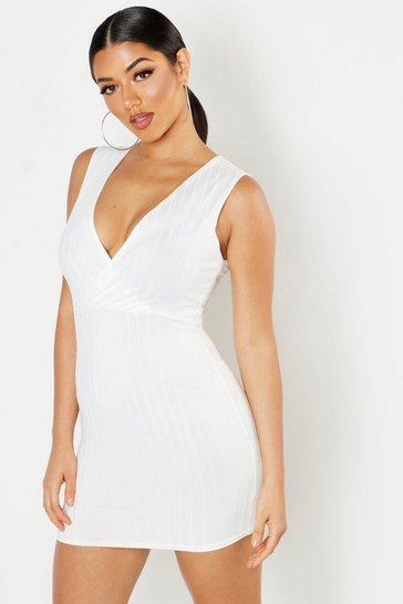Womens White Ribbed Plunge Bodycon Mini Dress