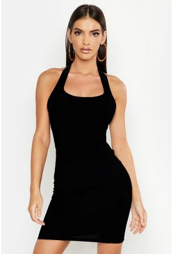 Black Ribbed Halter Neck Strappy Mini Bodycon Dress