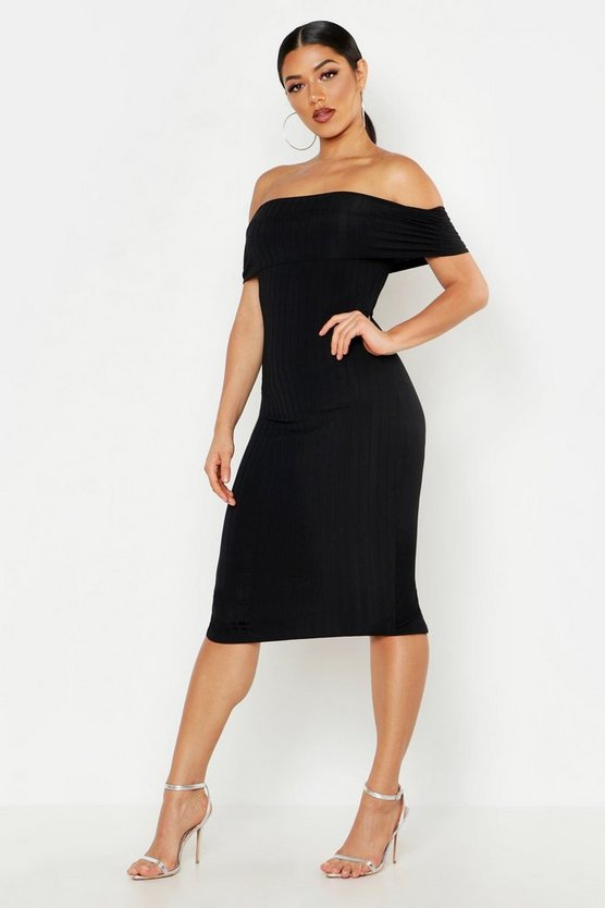 Womens Black Ribbed Off The Shoulder Midi Dress