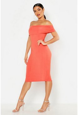 Womens Coral Ribbed Off The Shoulder Midi Dress
