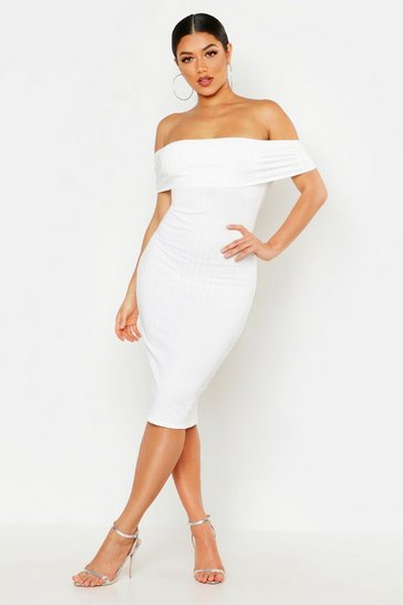 White Ribbed Off The Shoulder Midi Dress